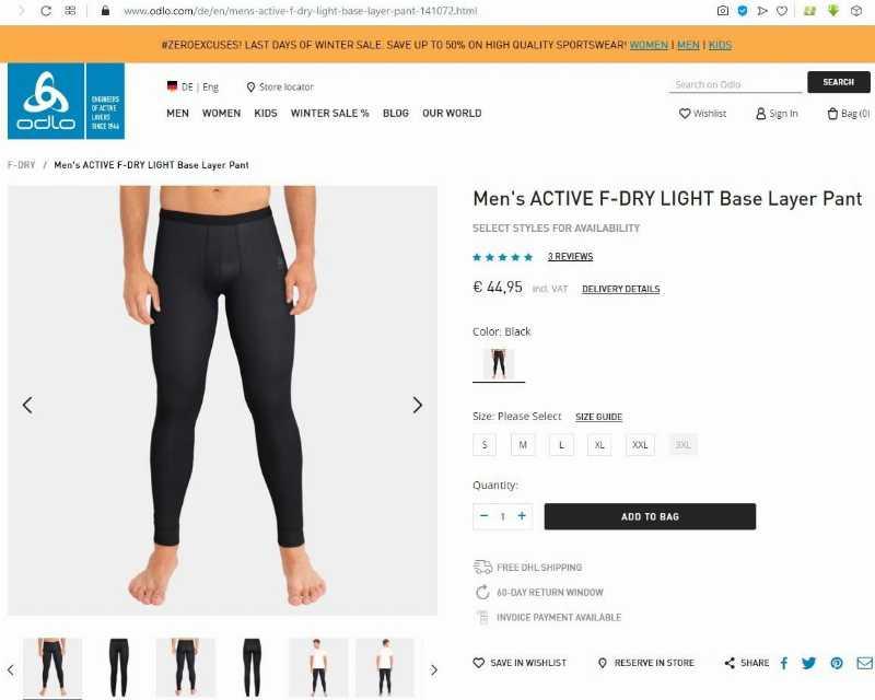 Новые термо трико Odlo Men's ACTIVE F-DRY LIGHT Base Layer Pants