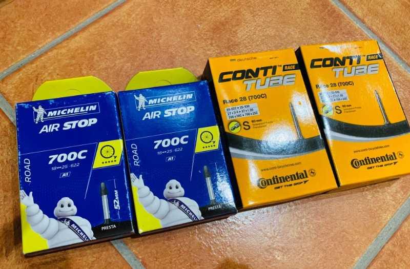 Велокамеры шоссе Michelin 18-25 /622, Continental 20-25 / 622