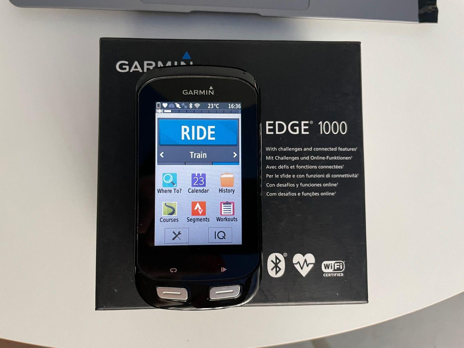 Велокомпьютер Garmin EDGE 1000 (bundle, с датчиками каданса, скорости и ЧСС)